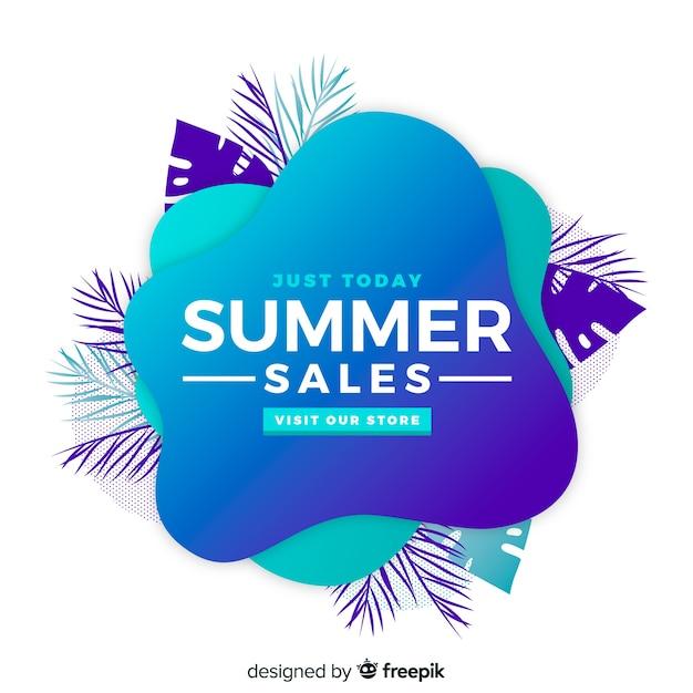 Summer sale liquid shape banner Free Vector