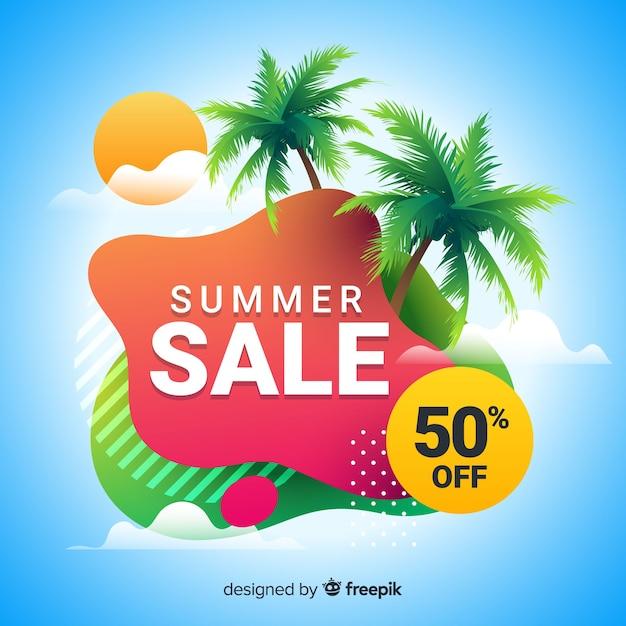 Summer sale liquid shape banners Free Vector