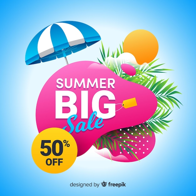Summer sale liquid shape banners Free Vector