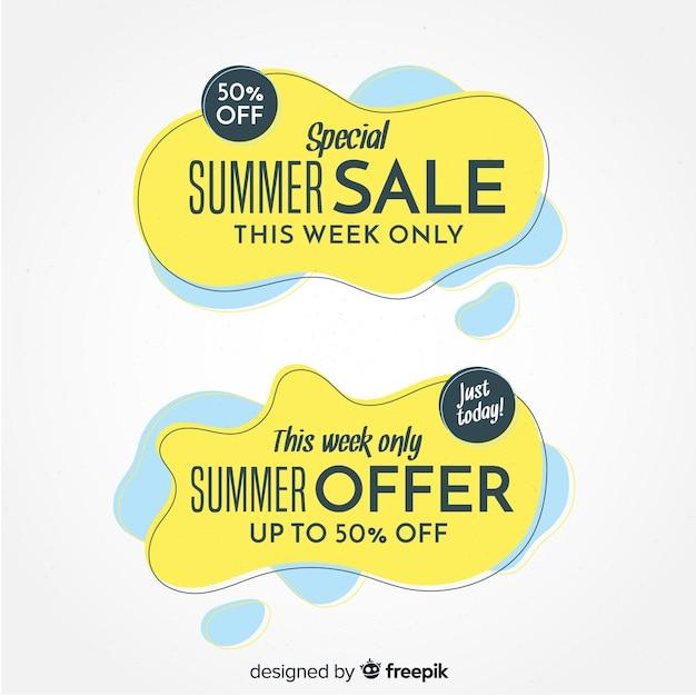 Summer sale liquid shapes banner Free Vector