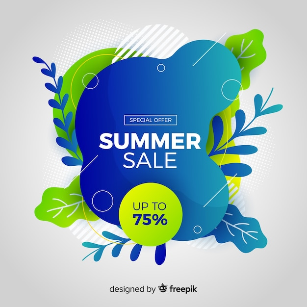 Summer sale liquid shapes and tropical leaves background Free Vector