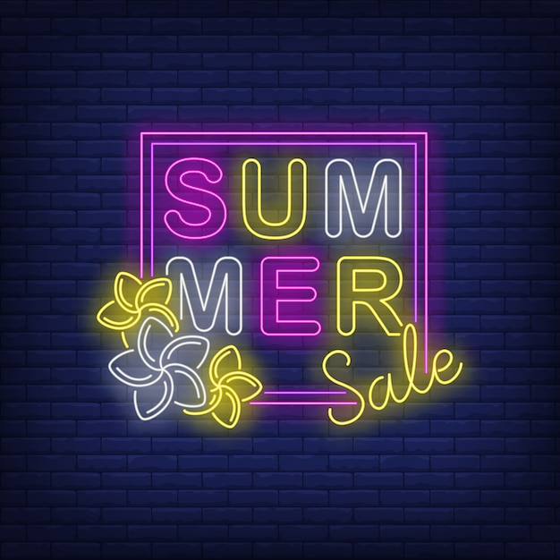 Summer sale neon text in frame with flowers Free Vector