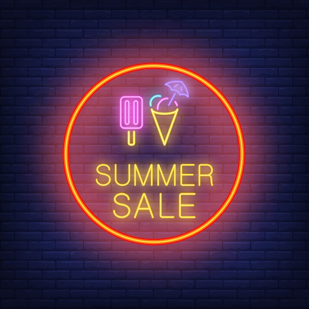 Summer sale neon text and ice-cream in circle. seasonal offer or sale advertisement Free Vector