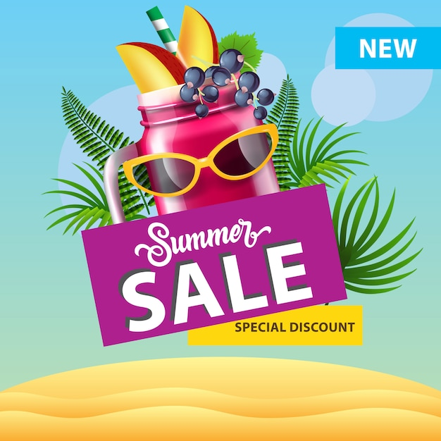Summer sale, new special discount poster with mug of berry smoothie, sunglasses Free Vector