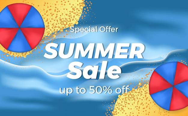 Summer sale offer discount banner with island beach Premium Vector