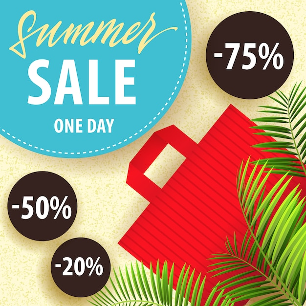 summer sale one day flyer with tropical leaves red shopping bag