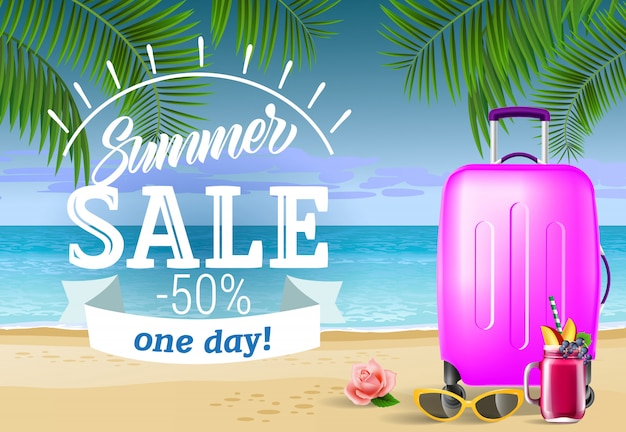 Summer sale, one day lettering with sea beach and suitcase. summer offer Free Vector