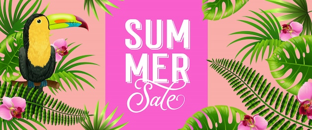 Summer sale pink banner with palm leaves,\ tropical flowers and toucan bird.