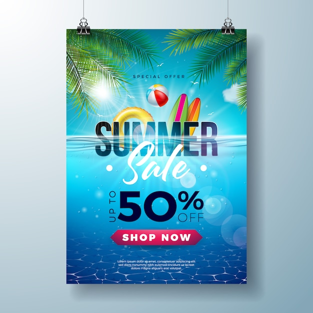 Summer sale poster design template with beach holiday elements and exotic leaves Premium Vector