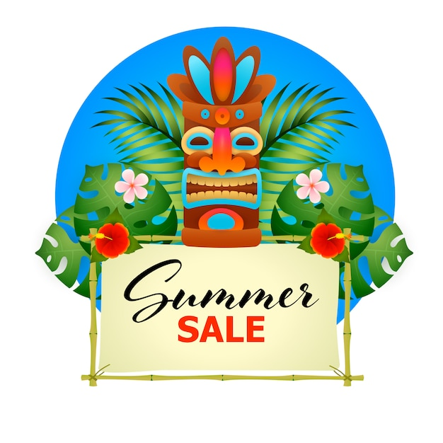 Summer sale poster. tiki tribal wooden mask Free Vector