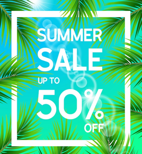 Summer sale poster up to 50 percent off with palm leaves Premium Vector