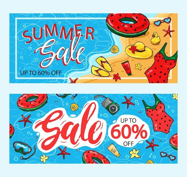 Плакат летней распродажи со скидкой 60%. текстовые и летние элементы для продвижения маркетинга магазина. Premium векторы