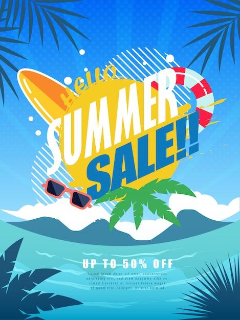 Summer sale poster Premium Vector