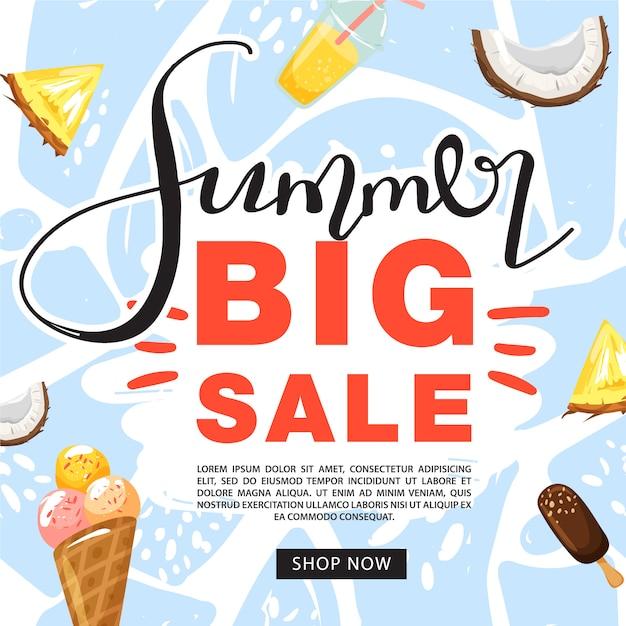 Summer sale promotion banner template Premium Vector