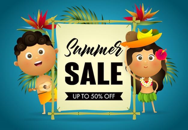 Summer sale retail poster. cartoon hawaiian guy and girl Free Vector