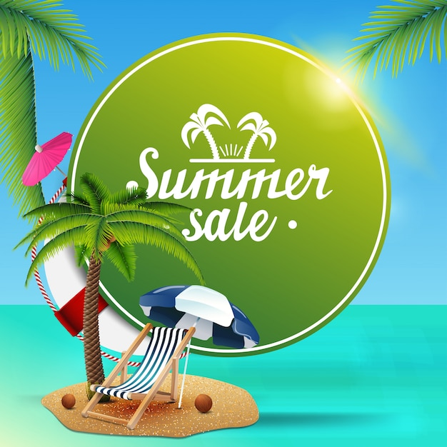 Summer sale, round green web banner for your business Premium Vector