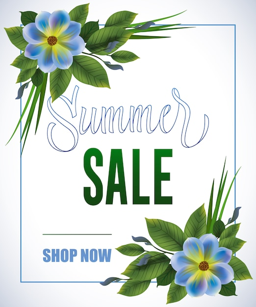 Summer sale shop now lettering in frame with blue flowers on white background