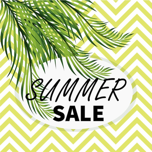 Summer sale social media banner with palm tree leaves Premium Vector