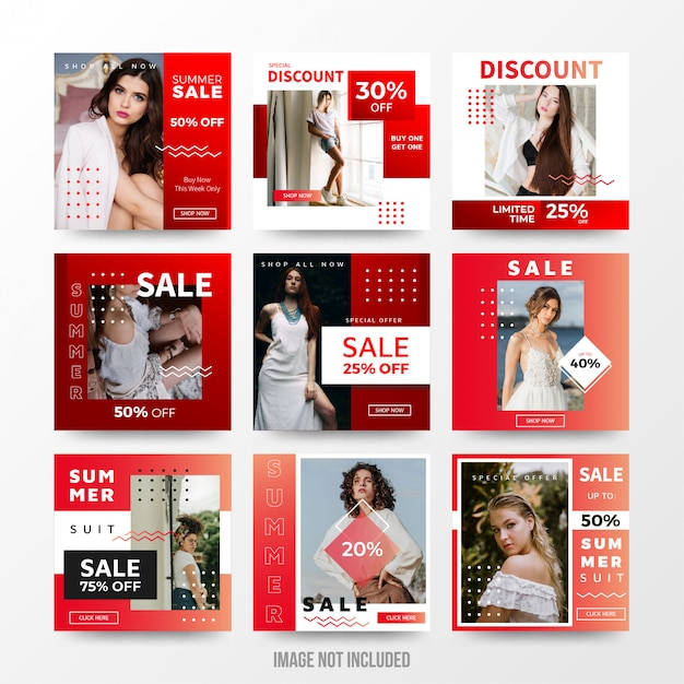 Summer sale social media post set template Premium Vector