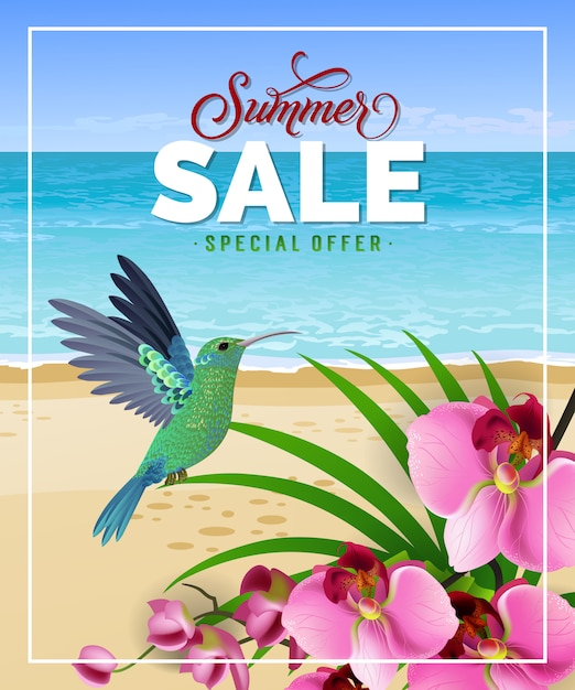 Summer sale special offer lettering with beach and hummingbird. Free Vector