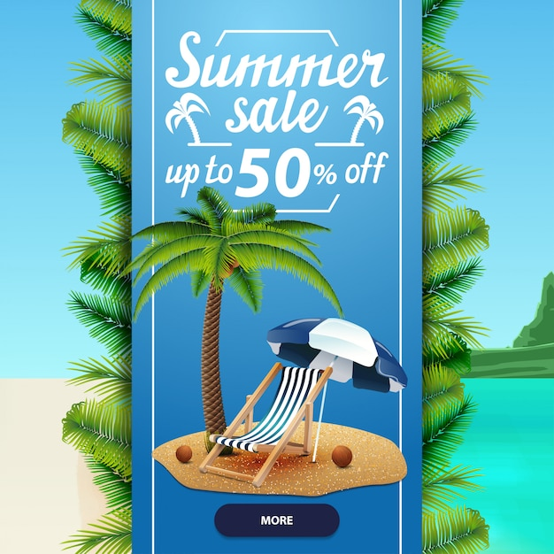 Summer sale, square discount web banner template for your business Premium Vector