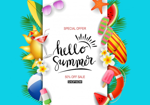 Summer sale template banner. Premium Vector