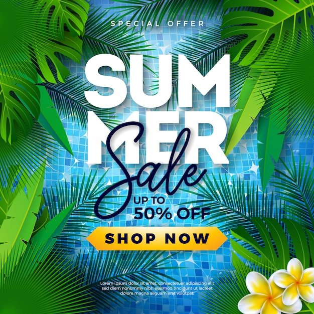 Summer sale template design with tropical palm leaves on pool Premium Vector