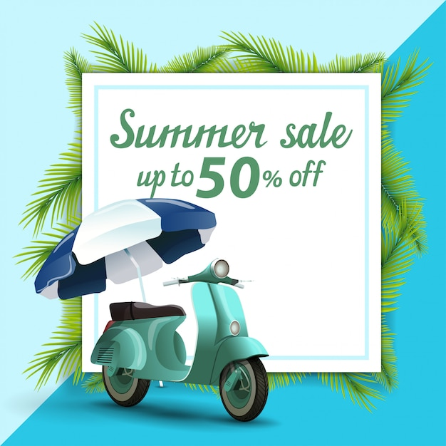 Summer sale, template for discount banner in the form of a sheet of paper Premium Vector