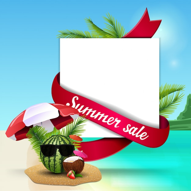 Summer sale, template for discount web banner with space for text Premium Vector