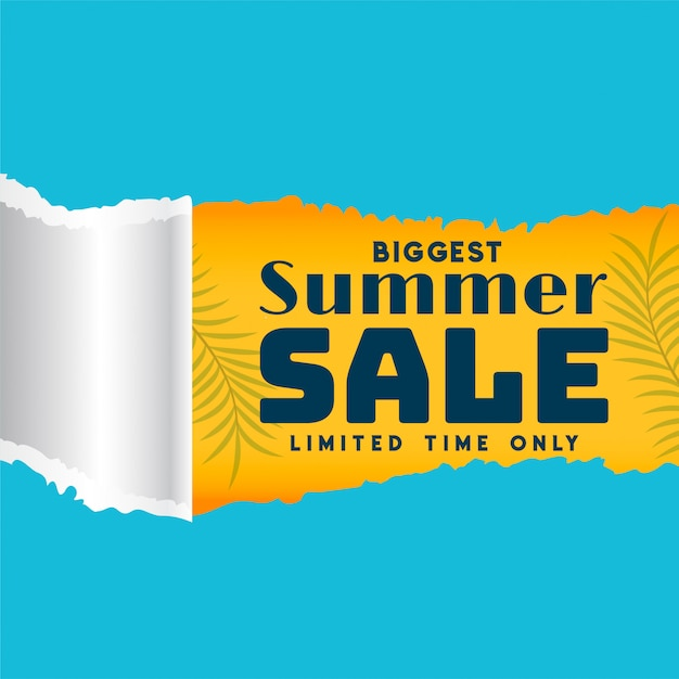 Summer sale template in torn paper style banner Free Vector