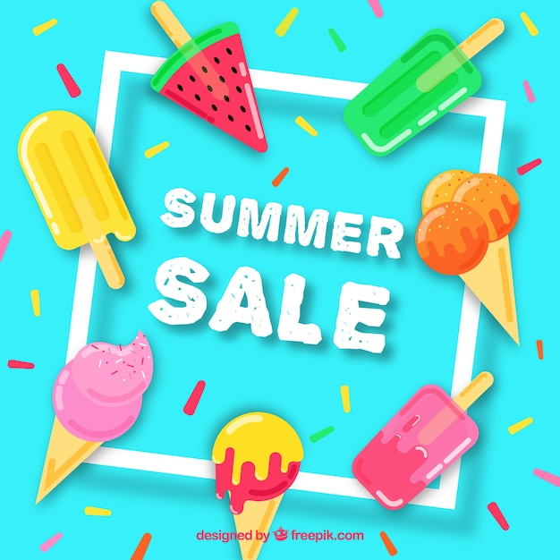 Summer sale template with delicious ice creams Free Vector