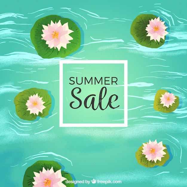 Summer sale template with flowers in river in\ watercolor texture