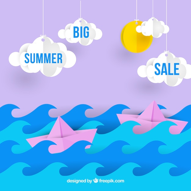 Summer sale template with ocean and sky