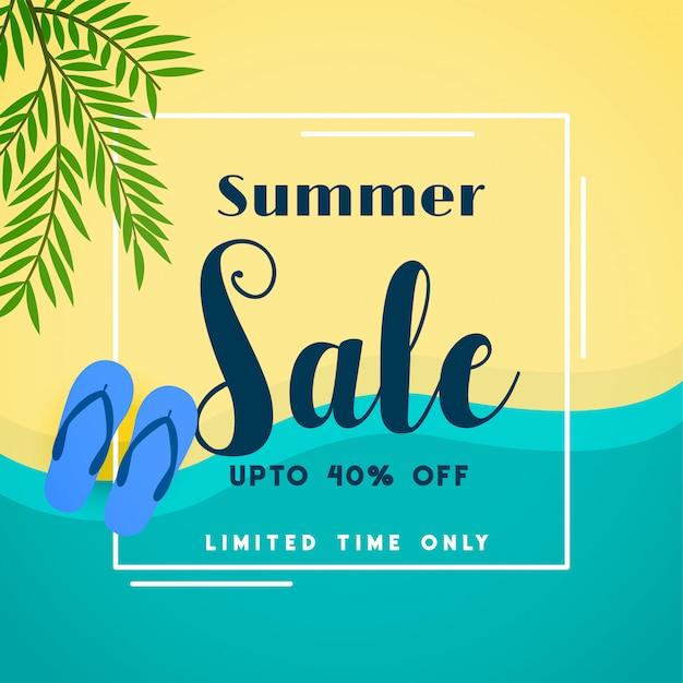 Summer sale top beach banner Free Vector