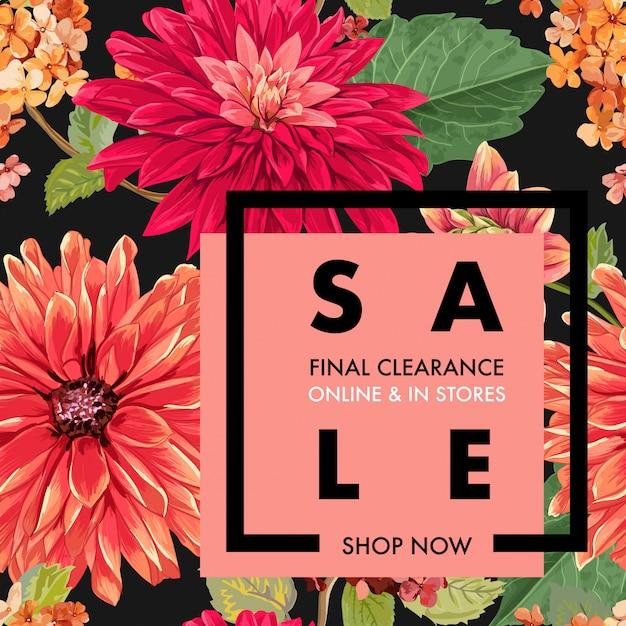 Summer sale tropical banner flowers Premium Vector