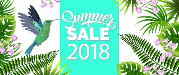 Summer sale, twenty eighteen blue banner with tropical leaves, lilac flowers and hummingbird Free Vector