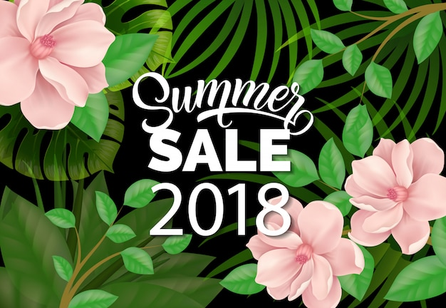 Summer sale two thousand eighteen lettering and beautiful plants. Free Vector