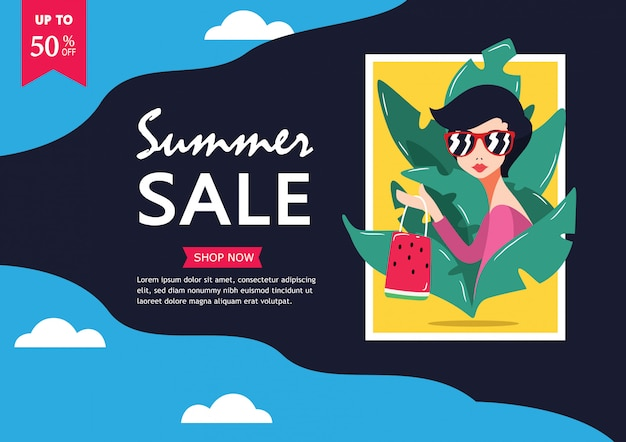 Summer sale. up to 50% off big sale sidebar banner Premium Vector