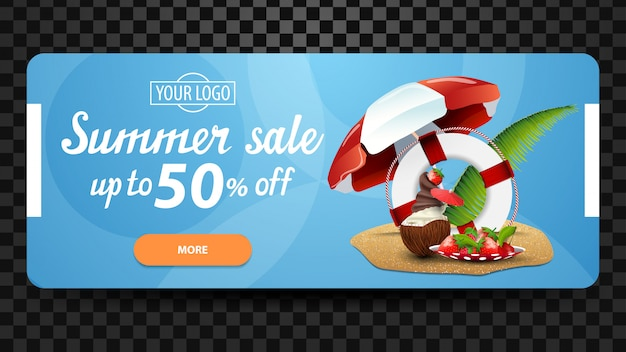 Summer sale, up to 50% off, discount web banner for your website Premium Vector