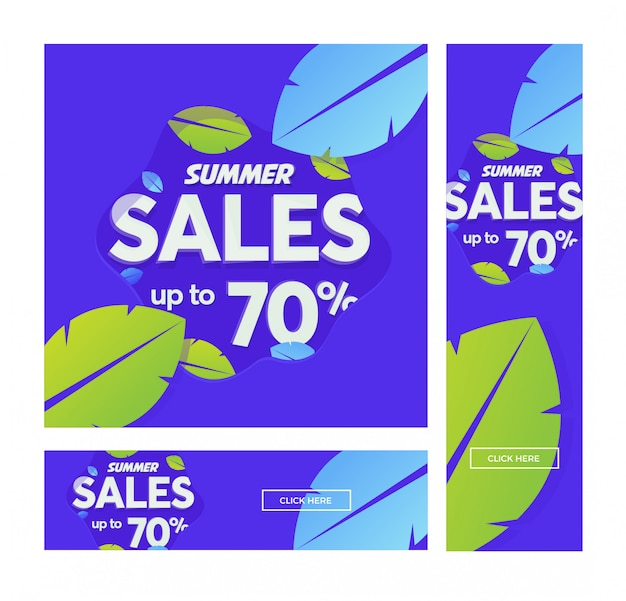 Summer sale vector banner with leaves in modern style. Premium Vector