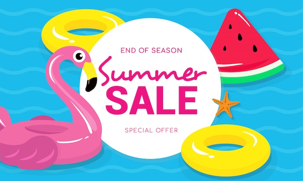Summer sale with flamingo vector illustration Premium Vector