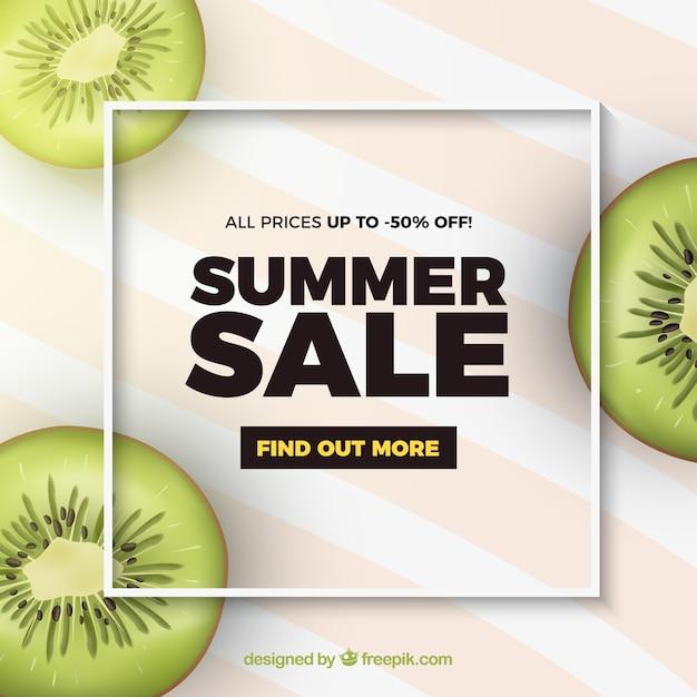 キウイの現実的なスタイルの夏のセール 無料ベクター