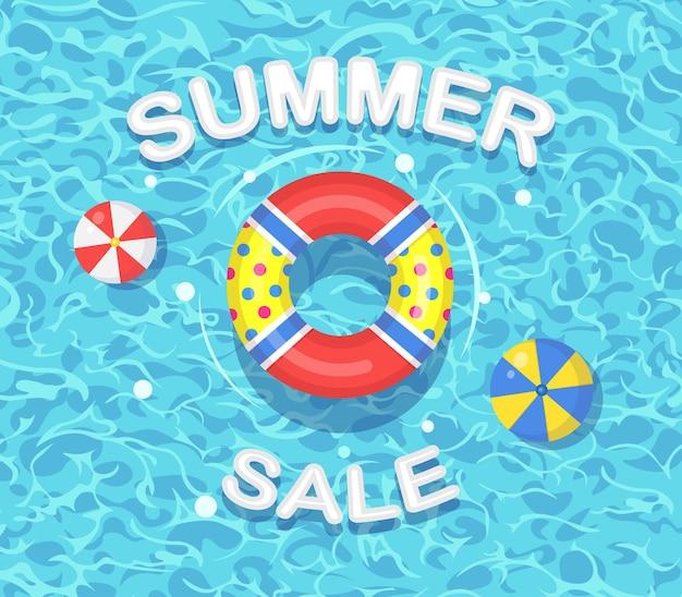 スイミングプールのイラストに浮かぶ救命浮輪と夏のセール Premiumベクター