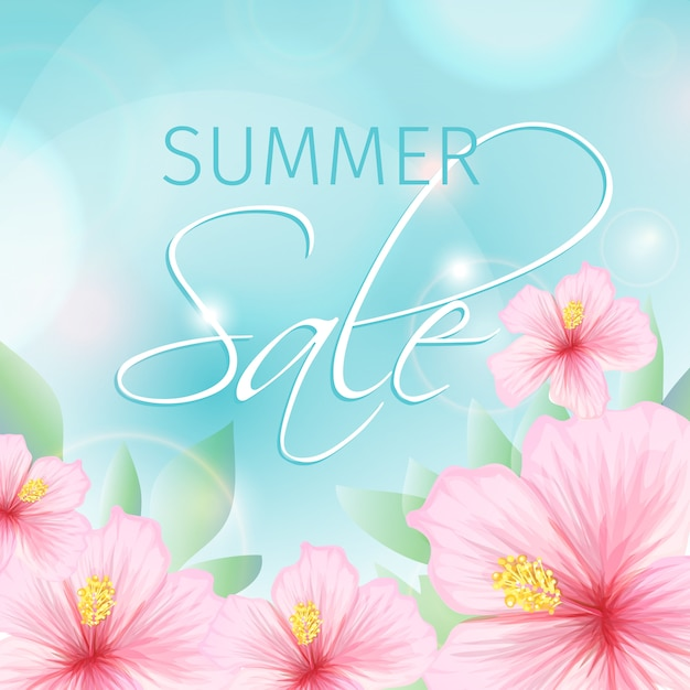 Summer sale with pink hibiscus illustration Free Vector