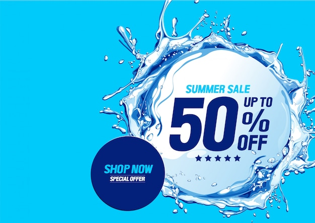 Summer sale with water waves circle Premium Vector