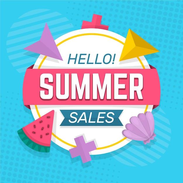 Летняя распродажа с арбузом и морской раковиной Бесплатные векторы