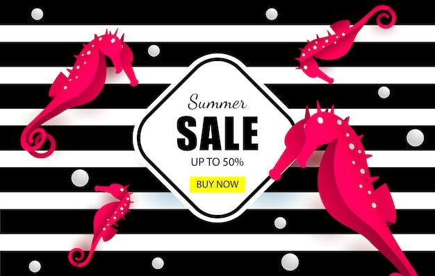 Summer sales marine banner Premium Vector