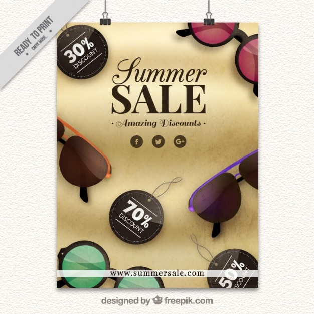 Summer Sales Poster With Realistic Sunglasses Vector