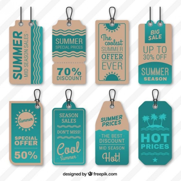 Summer sales tags Premium Vector