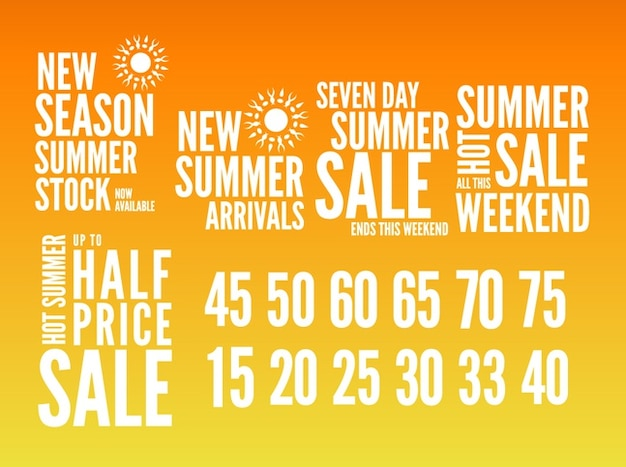 Summer sales text designs
